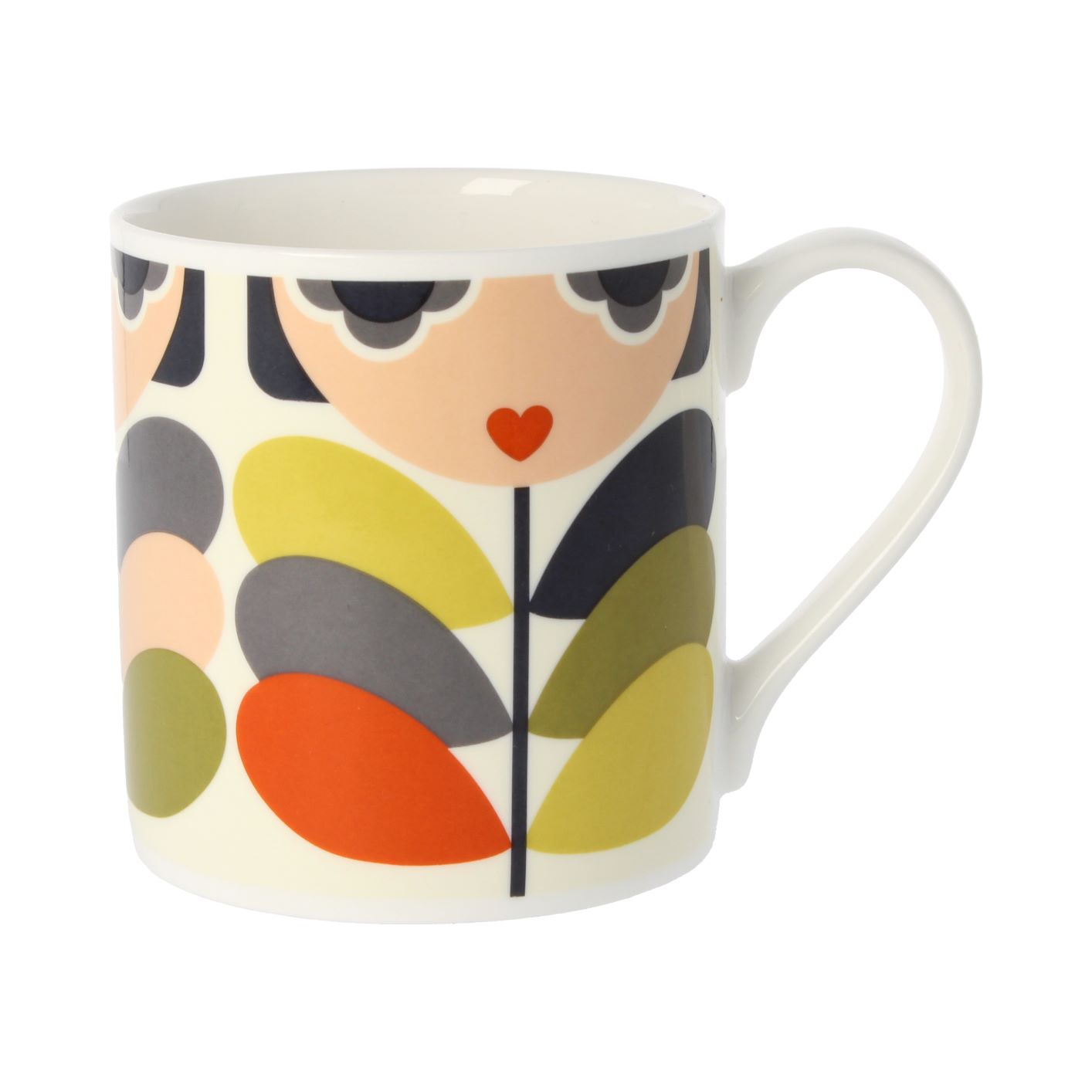 An example of an Orla Kiely mugs design, with a lady and leaves.