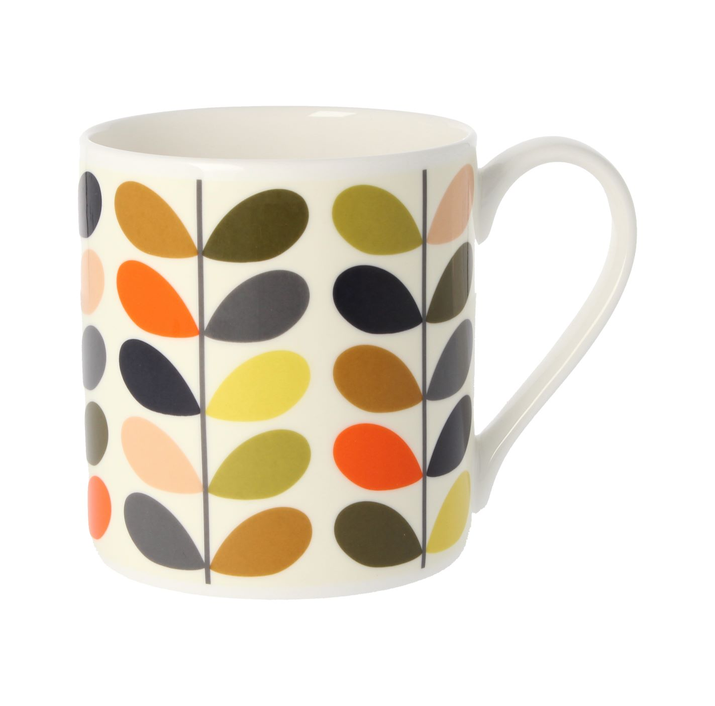 A classic leaves design on one of the Orla Kiely mugs.